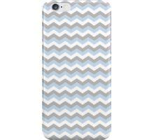 White, Blue Grey Chevron Zigzag Pattern iPhone Case/Skin