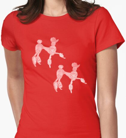 Double Trouble Pink Poodles Womens Fitted T-Shirt