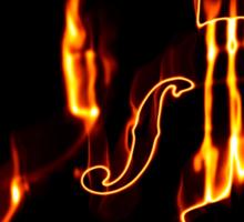 Classic violin in flame 3 Sticker