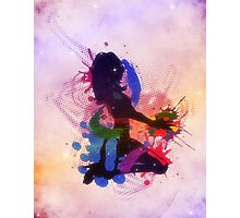 Grunge colorful illustration of a music DJ Photographic Print
