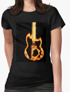 Electronic guitar in flames Womens Fitted T-Shirt