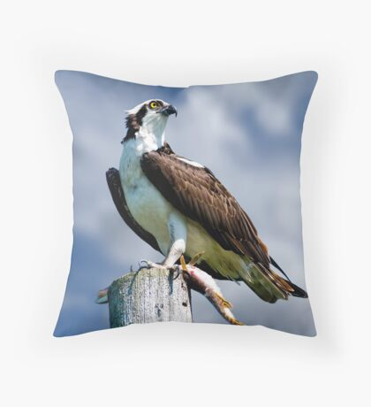 Osprey with Pike Throw Pillow