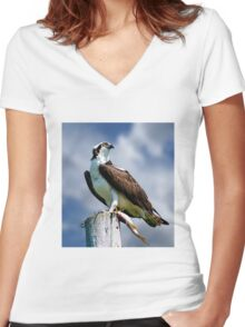 Osprey with Pike Women's Fitted V-Neck T-Shirt