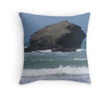 Portreath harbour Throw Pillow