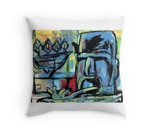 Tiki Motel (Fountain) Throw Pillow