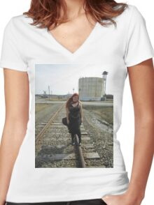 on the tracks  Women's Fitted V-Neck T-Shirt