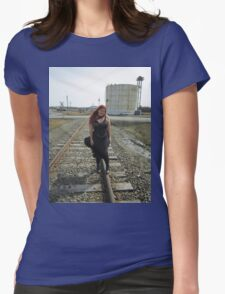 on the tracks  Womens Fitted T-Shirt