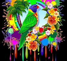 Rainbow Lorikeet Parrot Art by BluedarkArt