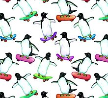 Skating Penguins - a cute hand drawn pattern by Perrin Le Feuvre
