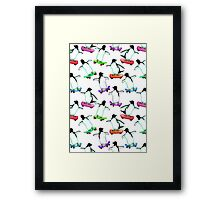 Skating Penguins - a cute hand drawn pattern Framed Print
