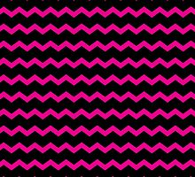 Hot Pink and Black Chevron Zigzag Pattern by TigerLynx