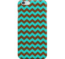 Turquoise and Brown Chevron Zigzag Pattern iPhone Case/Skin