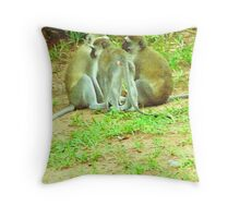 Vervet monkey adhoc meeting Throw Pillow