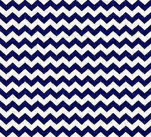 Navy Blue and White Chevron Zigzag Pattern by TigerLynx