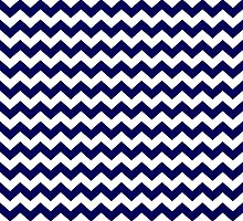 Navy Blue and White Chevron Zigzag Pattern by TigerLynx