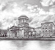 Neoclassical Four Courts Building On The Liffey in Dublin Ireland by Mark Tisdale