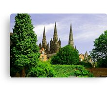 Lichfield Cathedral from the Garden Canvas Print