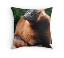 Red Ruffed Lemur Throw Pillow