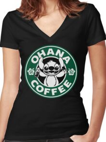 Ohana Coffee Women's Fitted V-Neck T-Shirt