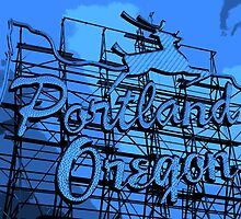 Welcome to Portland (Posterized Blue) by AmishElectricCo