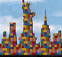 Statue of Liberty New York City Skyline Made With Lego Like Blocks by T-ShirtsGifts