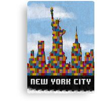 Statue of Liberty New York City Skyline Made With Lego Like Blocks Canvas Print