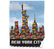 Statue of Liberty New York City Skyline Made With Lego Like Blocks Poster