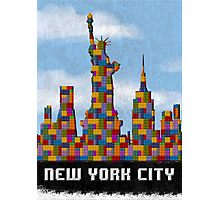 Statue of Liberty New York City Skyline Made With Lego Like Blocks Photographic Print