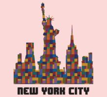 Statue of Liberty New York City Skyline Made With Lego Like Blocks One Piece - Long Sleeve