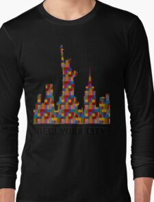 Statue of Liberty New York City Skyline Made With Lego Like Blocks Long Sleeve T-Shirt