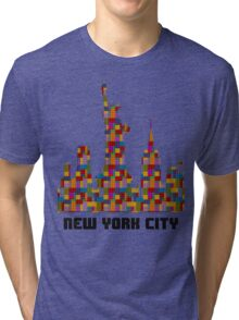 Statue of Liberty New York City Skyline Made With Lego Like Blocks Tri-blend T-Shirt