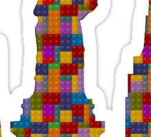 Statue of Liberty New York City Skyline Made With Lego Like Blocks Sticker