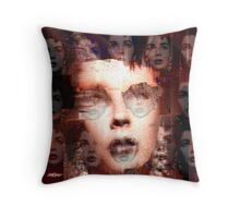 Behind the Red Curtains Throw Pillow