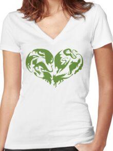 I Heart Dragons Women's Fitted V-Neck T-Shirt