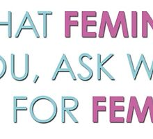What can you do for feminism (pink and blue font) by brightnote
