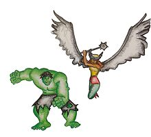 Hulk and Hawkgirl by Nicoletta37