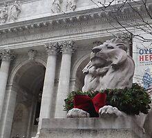 Lion Sculpture, New York Public Library, New York City by lenspiro