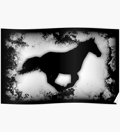 Western-look Galloping Horse Silhouette Poster