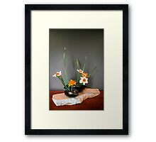 Daffodil ikebana in two containers Framed Print