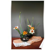 Daffodil ikebana in two containers Poster