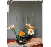 Daffodil ikebana in two containers iPad Case/Skin