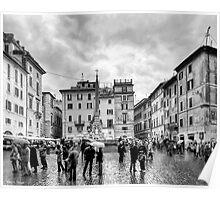 A Classic Italian Piazza In Rome Poster