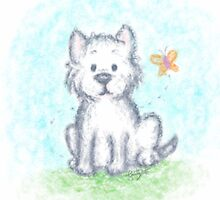Westie Puppy and Butterfly by stayincharacter