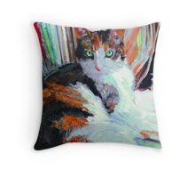 Day At the Office, Portrait of Allie, Calico Cat Throw Pillow