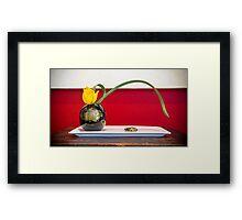 minimalist modern ikebana with tulip Framed Print