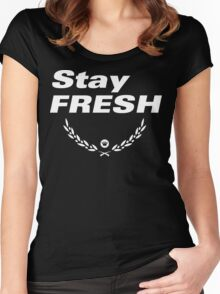 Stay Fresh [Cyprus Wreath] [White Ink] Women's Fitted Scoop T-Shirt