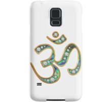 OM, gold rimmed, diamond encrusted abalone (on white) Samsung Galaxy Case/Skin