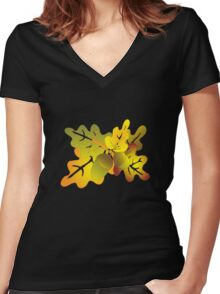 oak foliage Women's Fitted V-Neck T-Shirt