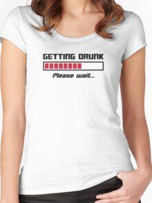 Getting Drunk Please Wait Loading Bar Women's Fitted Scoop T-Shirt