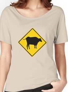 BULL CROSSING ROAD  SIGN  Women's Relaxed Fit T-Shirt